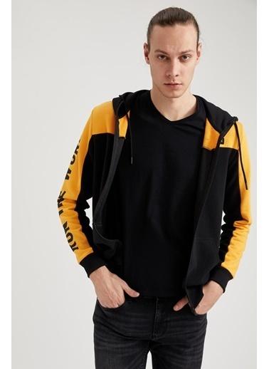 DeFacto Basıkılı Slim Fit Kapüşonlu Fermuarlı Sweatshirt Sarı